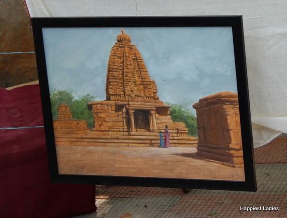 india temple oil painting