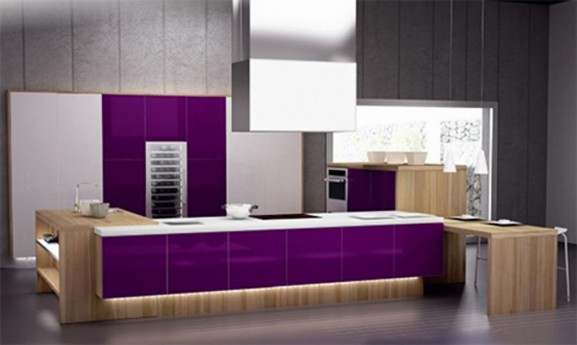 Modern Purple and White Kitchen Interior Design Ideas by Spazzi ...