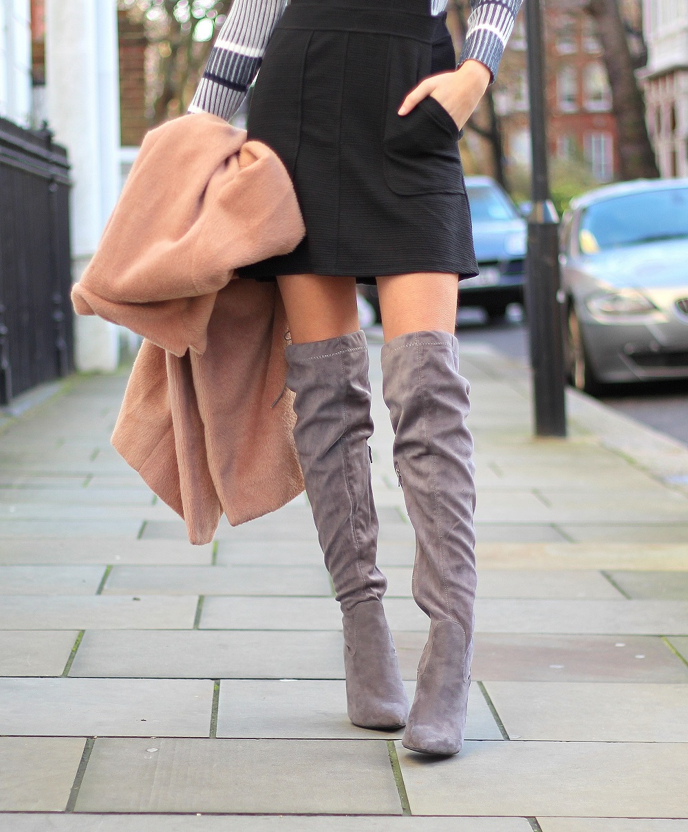 knee high boots and dress