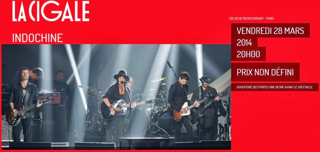 Indochine en concierto gratuito en La Cigale (Viernes, 28 de marzo)