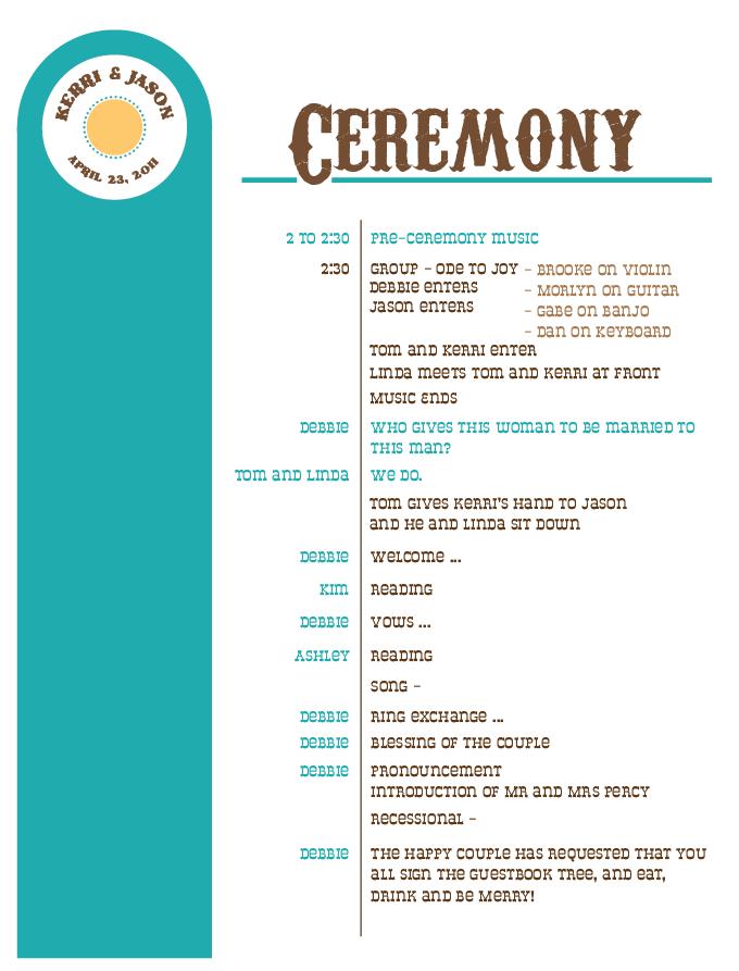 Kerri Gilpin Jason Percy Wedding Ceremony And Reception Lineup
