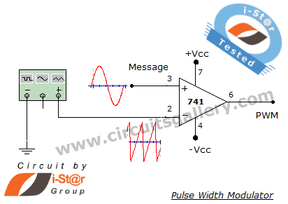 PWM+Generation+circuit+using+op+amp+741 Pulse Width Modulation (PWM) generator circuit using 741 op amp comparator with output wave form