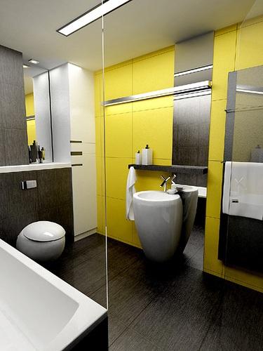 Baño Pintado De Amarillo: de la pared en amarillo convirtiéndose en el foco de atención del
