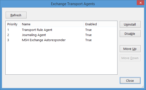 Exchange transport agents' settings window in MSH Exchange Autoresponder