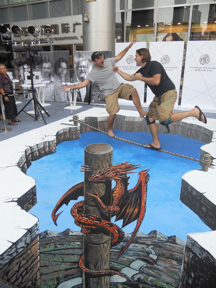 Obras 3D callejeras de los artistas Joe Hill y Max Lowry