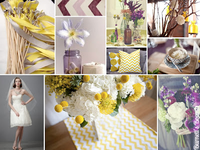 purple gray and yellow wedding