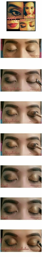 How To Apply Dramatic Black And Gold Eyeshadow