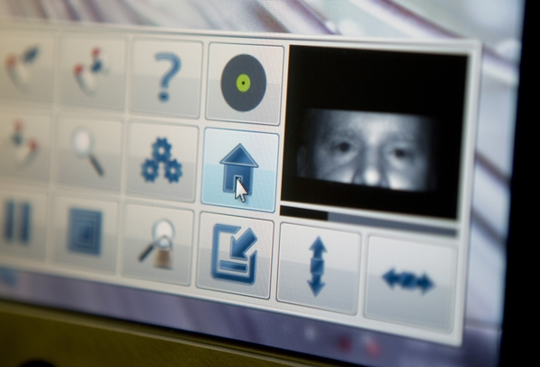 screen showing the eyes of the user and other icons