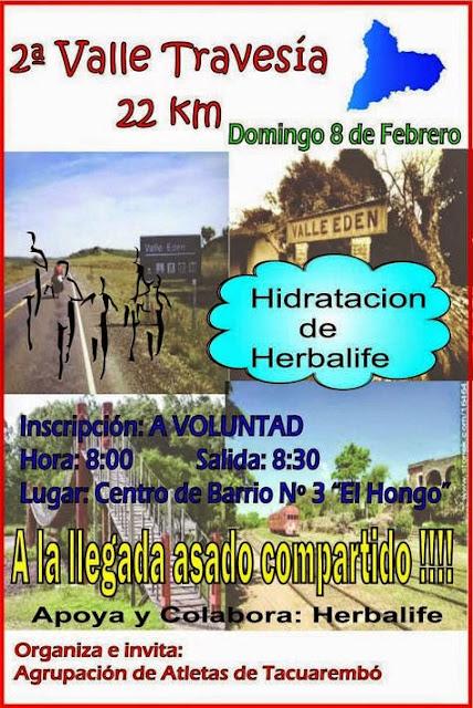 23k Travesía a Valle Edén desde barrio El Hongo de Tacuarembó (08/feb/2015)
