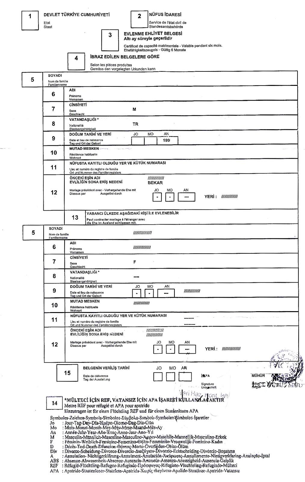 en turquie le certificat de capacit mariage est dlivr par les services dtat civil turcs - Transcription Acte De Mariage Franco Algrien