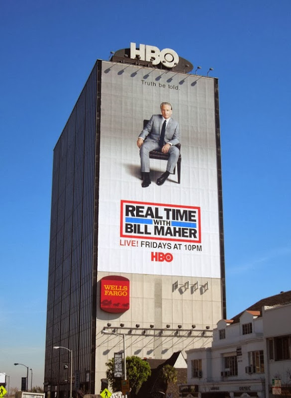 Giant Real Time Bill Maher season 12 billboard Sunset Strip