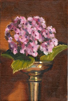 Oil painting of a pale pink hydrangea flower in an Art Deco-style silver-plated vase.