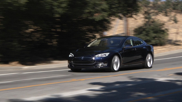 Tesla's Model S on the road in Palo Alto, California