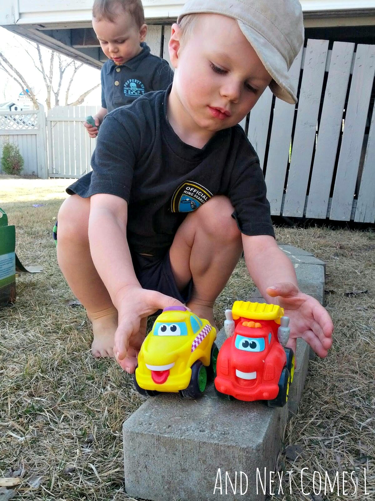 J driving cars on DIY outdoor roads from And Next Comes L