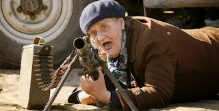 funny picture: grandfather with machine-gun