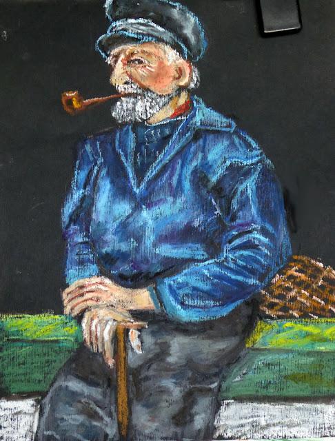 Art de vivre la peinture de peintrefiguratif portrait au pastel gras vieux p cheur for Peinture pastel gras