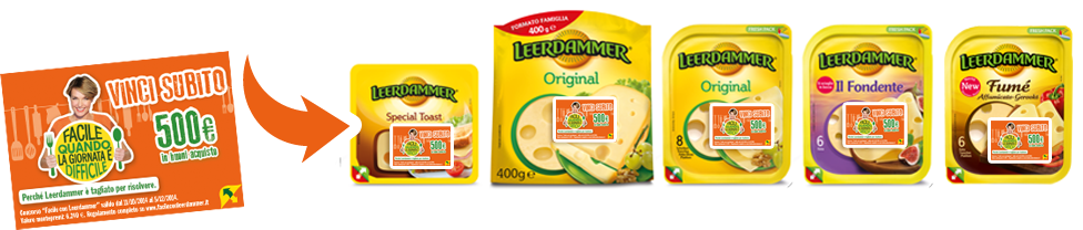 prodotti promozionati per concorso leerdammer