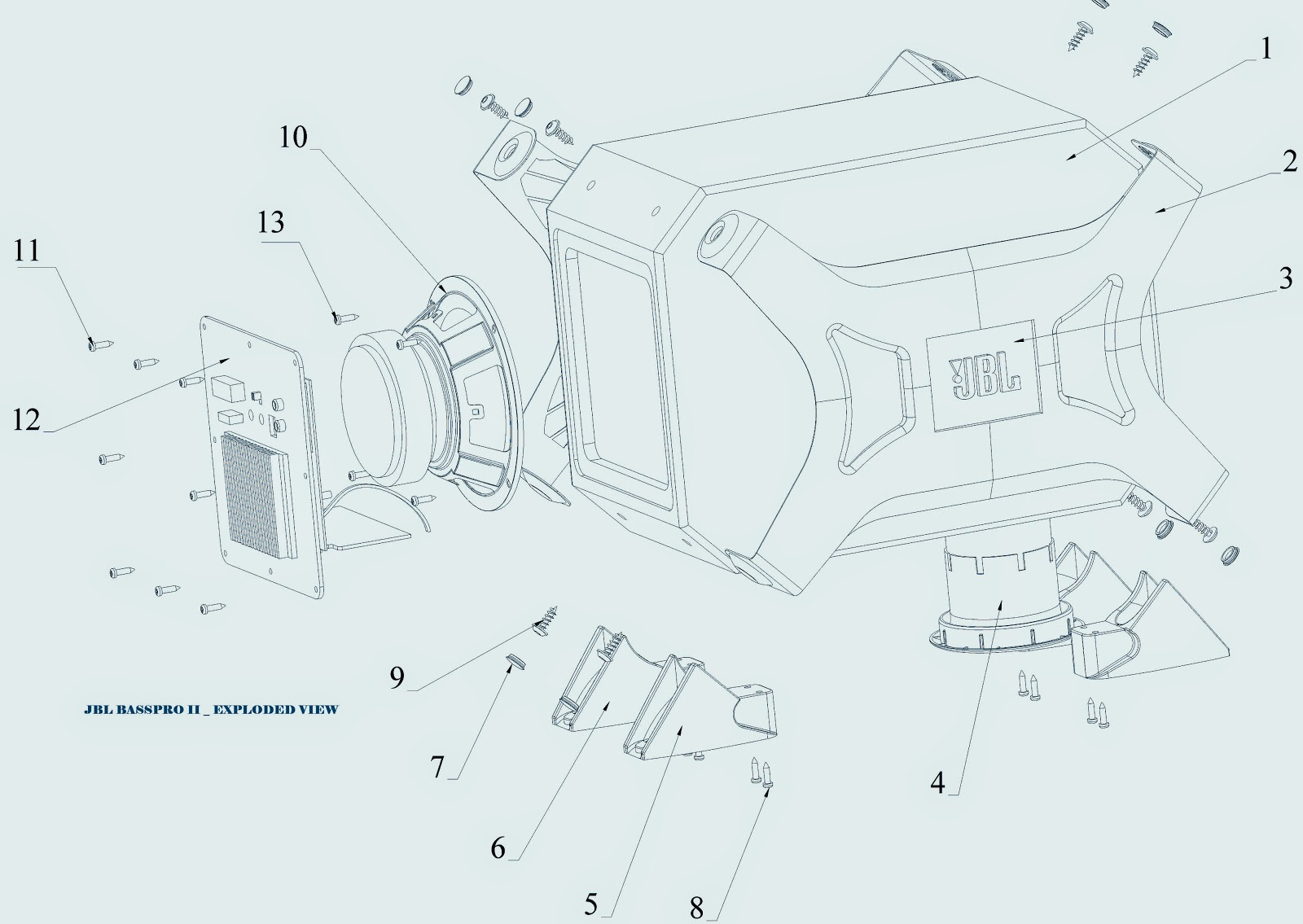 jbl gt basspro ii sub-woofer - wiring diagram