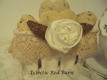 Eclectic Red Barn: Cherry Scones in White Ceramic Strawberry Basket