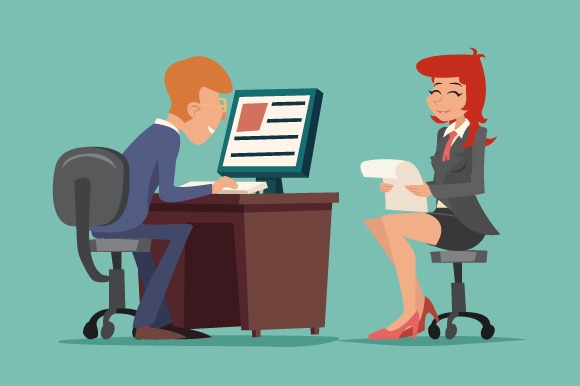 entrevista de emprego - job interview task conversation businessman at desk working on computer cartoon characters icon on stylish background retro cartoon design vector illustration f - 5 Dicas para você passar na entrevista de emprego