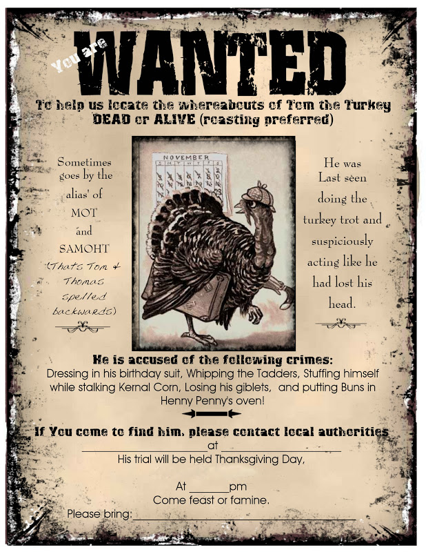 Visiting Teaching surprise!: Thanksgiving Wanted Poster invitation