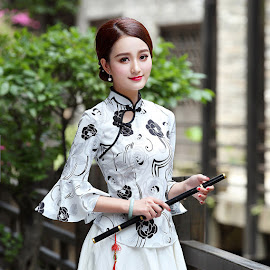 2018 Trumpet Sleeve Cheongsam Blouse and Matching Skirt