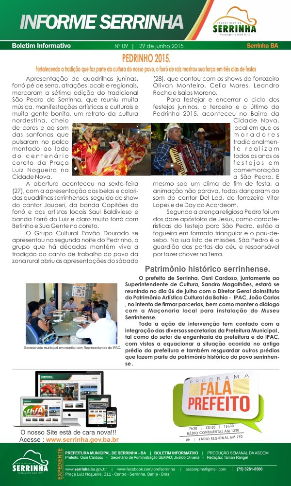 INFORME SERRINHA - BOLETIM SEMANAL DA PREFEITURA MUNICIPAL DE SERRINHA.