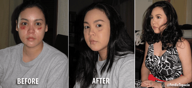 "Caludine's ""Battered"" Photos Before and After Makeup Posted by Her Lawyer"
