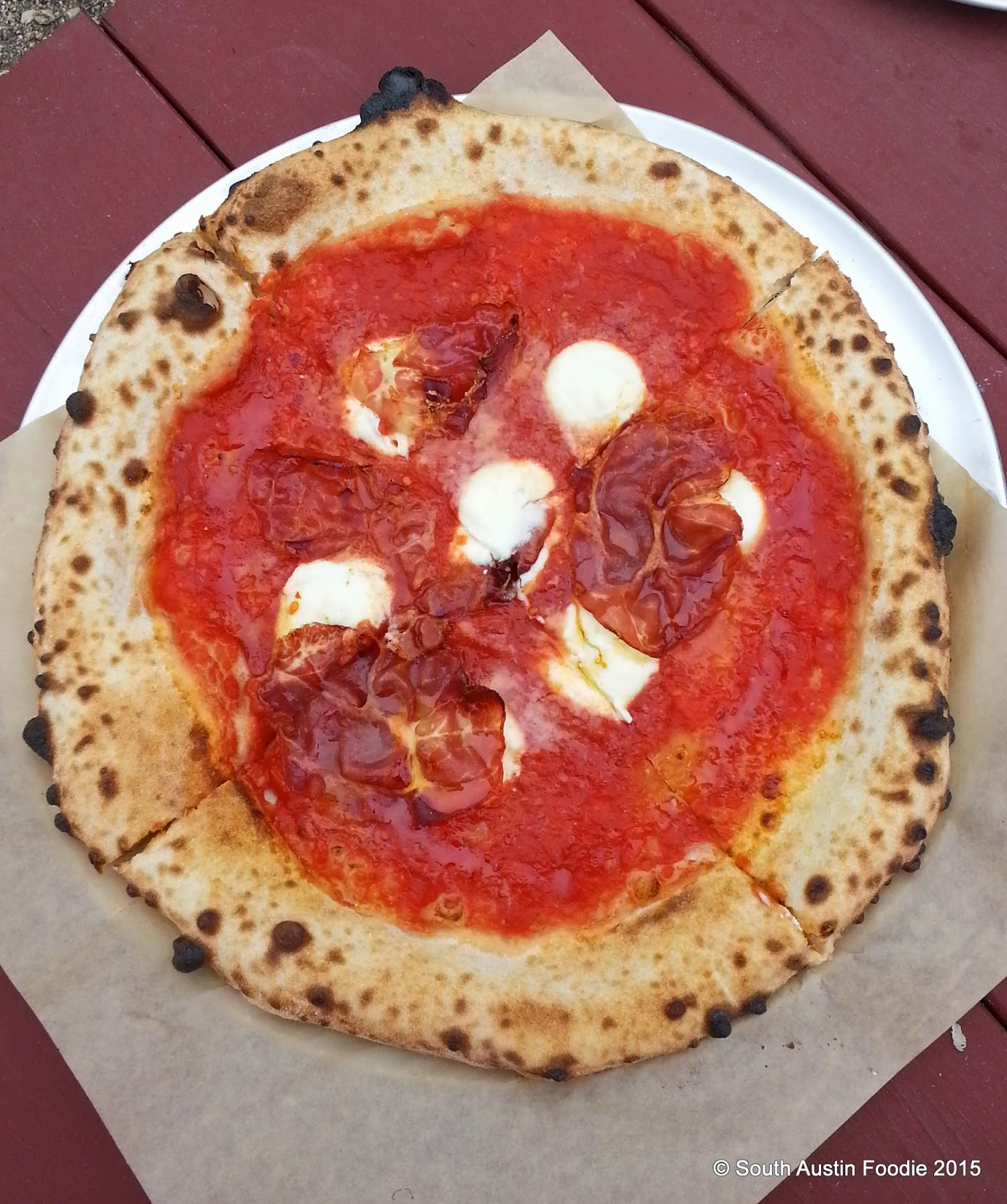 Neapolitan pizza (hot coppa + honey) from 40 North food trailer