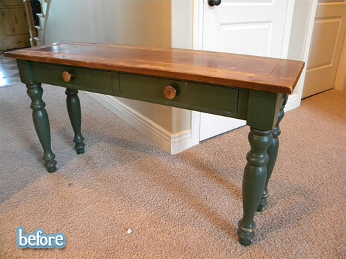 hunter green table with knobs before makeover | betterafter.net
