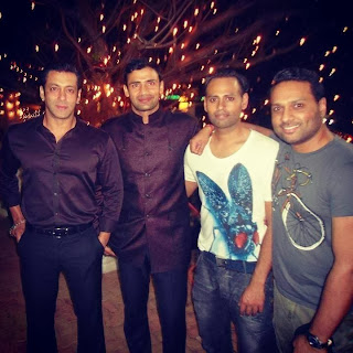 Salman Khan with Sangram and Andy at his party for Bigg Boss contestants
