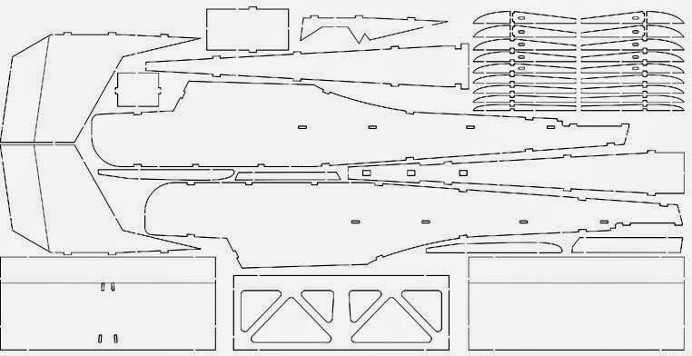 Раскладка деталей модели самолета под лазерную резку