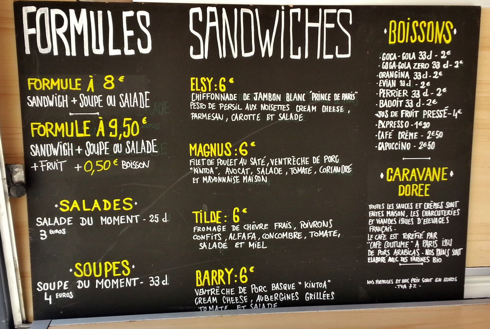 Image result for carte sandwichs paris