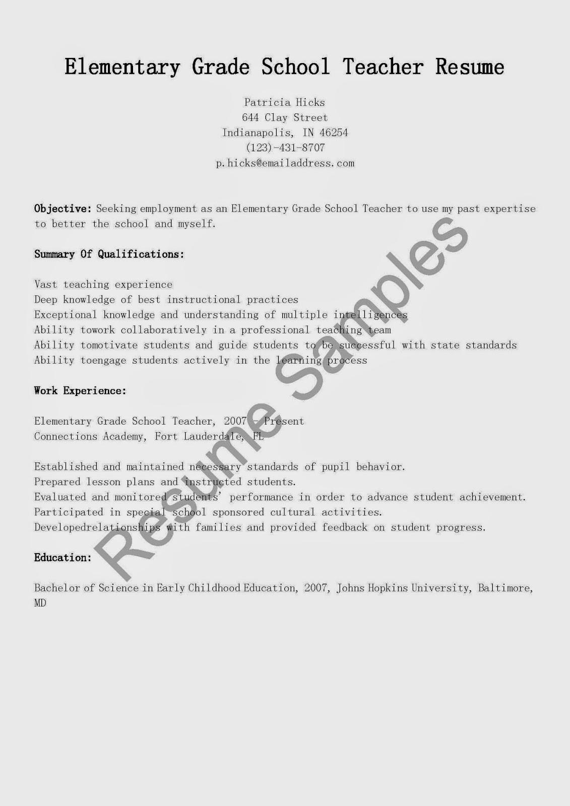 resume samples elementary grade school teacher resume sample