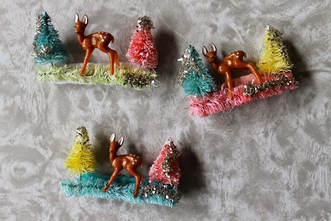bottle brush novelty christmas brooches with miniature deer and glitter from Wacky Tuna Vintage via Va Voom Vintage