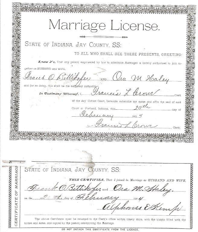 Marriage License & Return: Frank O. Bittikofer to Ora M. Haley, 1904 ...