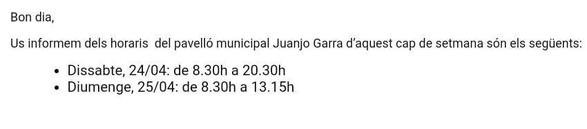 Horari rocòdrom municipal del pavelló Juanjo Garra