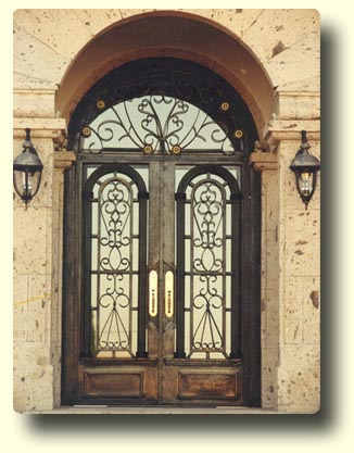 Wrought iron door styles for Wood doors with wrought iron