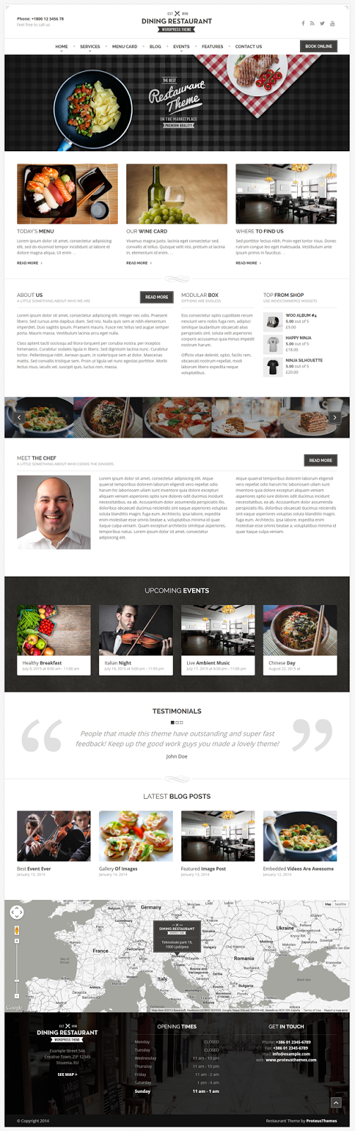 Responsive Restaurant WordPress Template