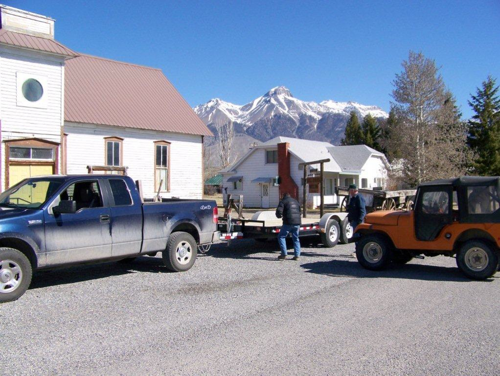 Museum Neighbor, Frank Sandford. With Leonard Wall. Securing The Sheep Wagon  ...
