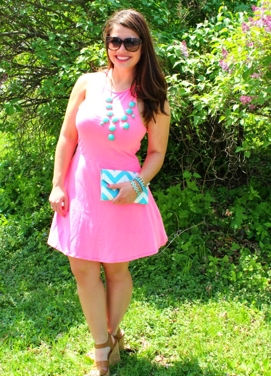 La Petite Fashionista: Neon Pink Dress + Turquoise Necklace
