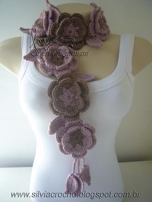 cachecol de croche, cachecol com flores, croche, cachecol com flores de croche, cachecol de flores de croche