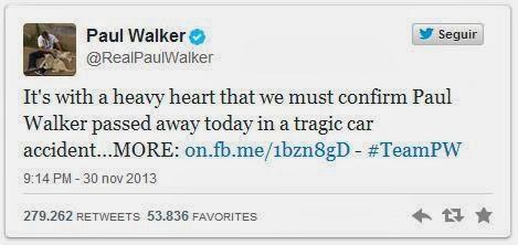 Muere el actor Paul Walker twitter