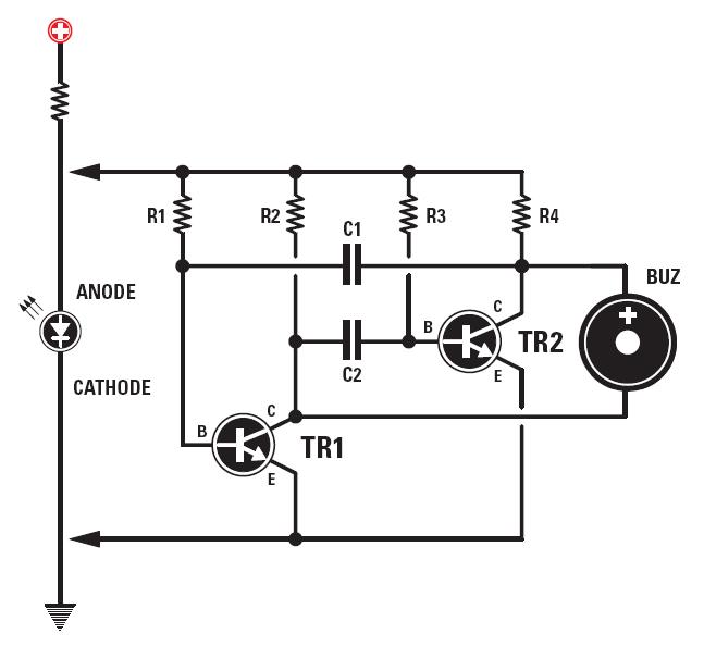 Un buzzer en parall le avec une led schema electronique net for Bascule transistor