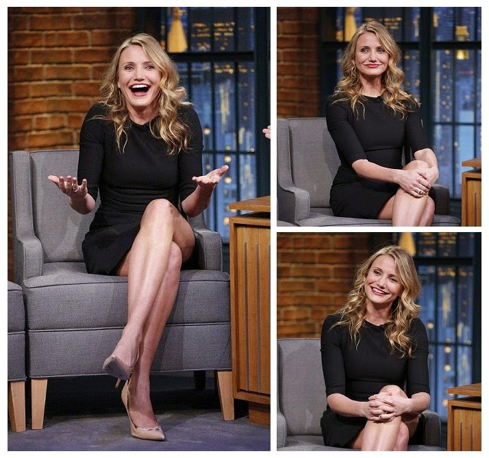 A great details like that always earn points in our book style.  The girly number featured a dark mini cocktail dress with a single fissure on the left side, it was so enthralled with Cameron Diaz's legs at Seth Meyers show.