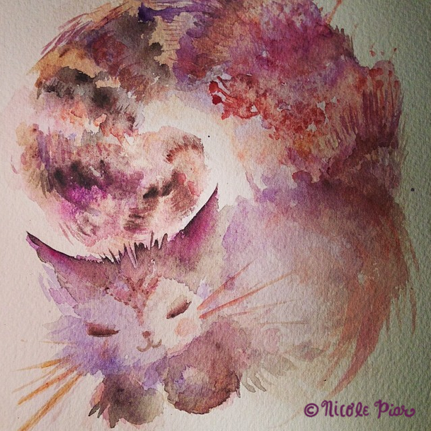 Pink and Brown and purple Cat Illustration by Nicole Piar Anime