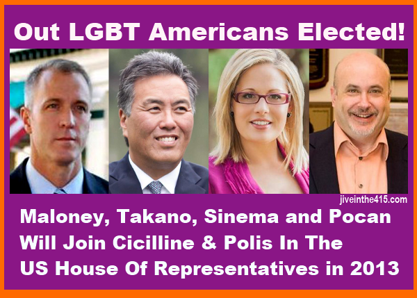 LGBT candidates Sean Maloney, Mark Takano, Kyrsten Sinema, and Mark Pocan were elected to Congress