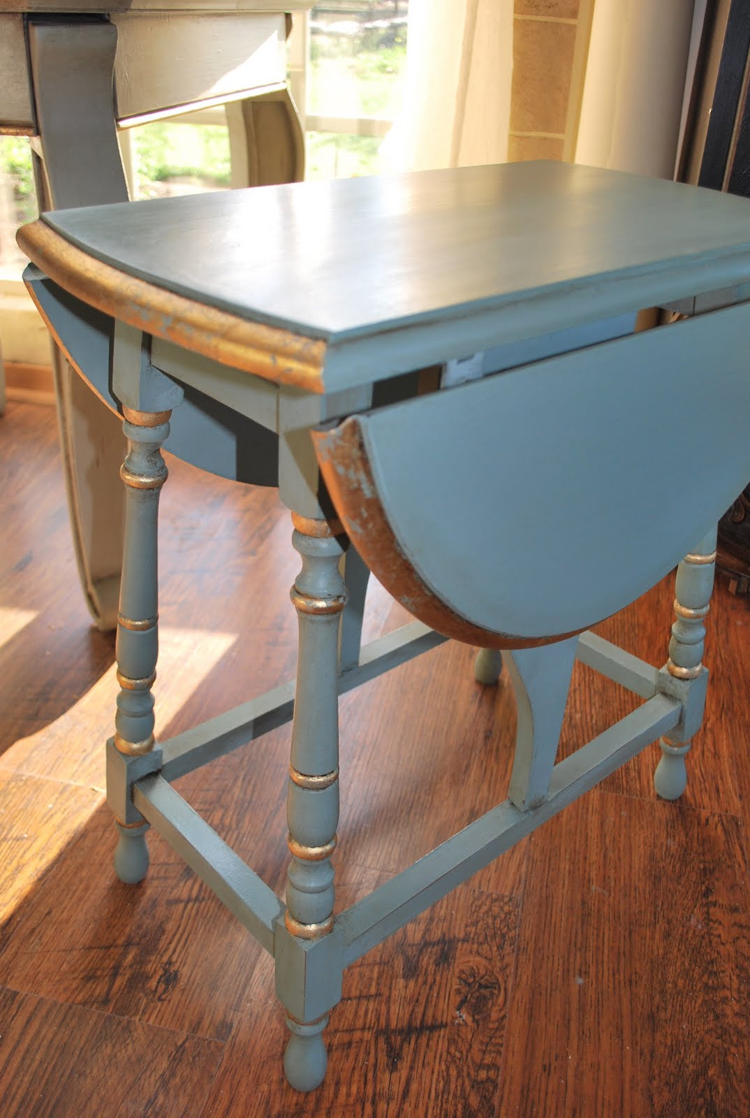 Awesome Duck Egg Blue Drop Leaf Table U2013 SOLD! But I Did Add Some Old White Over The  Gold Leafing And Rubbed Back To Reveal Just A Bit Of Blingu2026..that Did The  ...