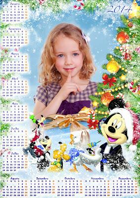 Calendário 2014 infantil - Natal com personagens da Disney