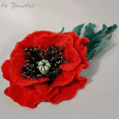 Yanart felted poppy flower my tutorial today im sharing a tutorial how to make this great felted poppy flower brooch mightylinksfo